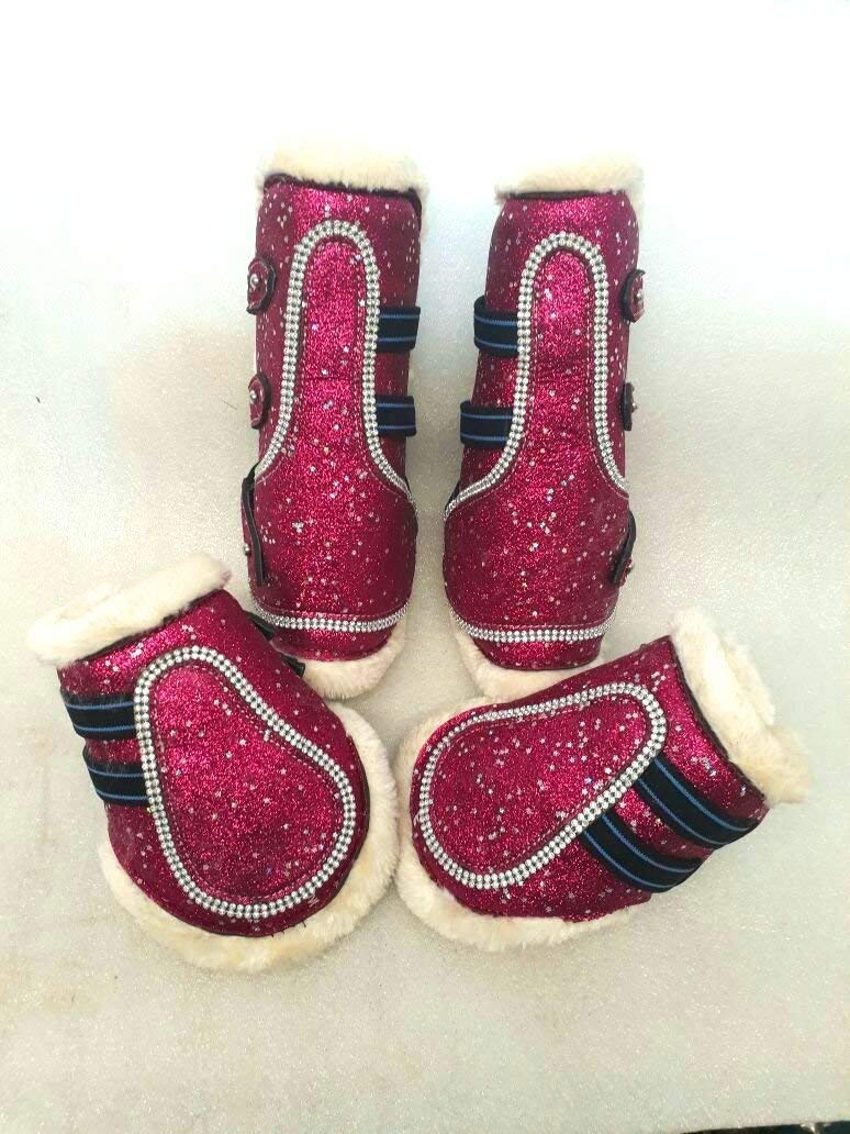 Cwell Equine TENDON AND FETLOCK BOOTS SET GLITTER SPARKLY