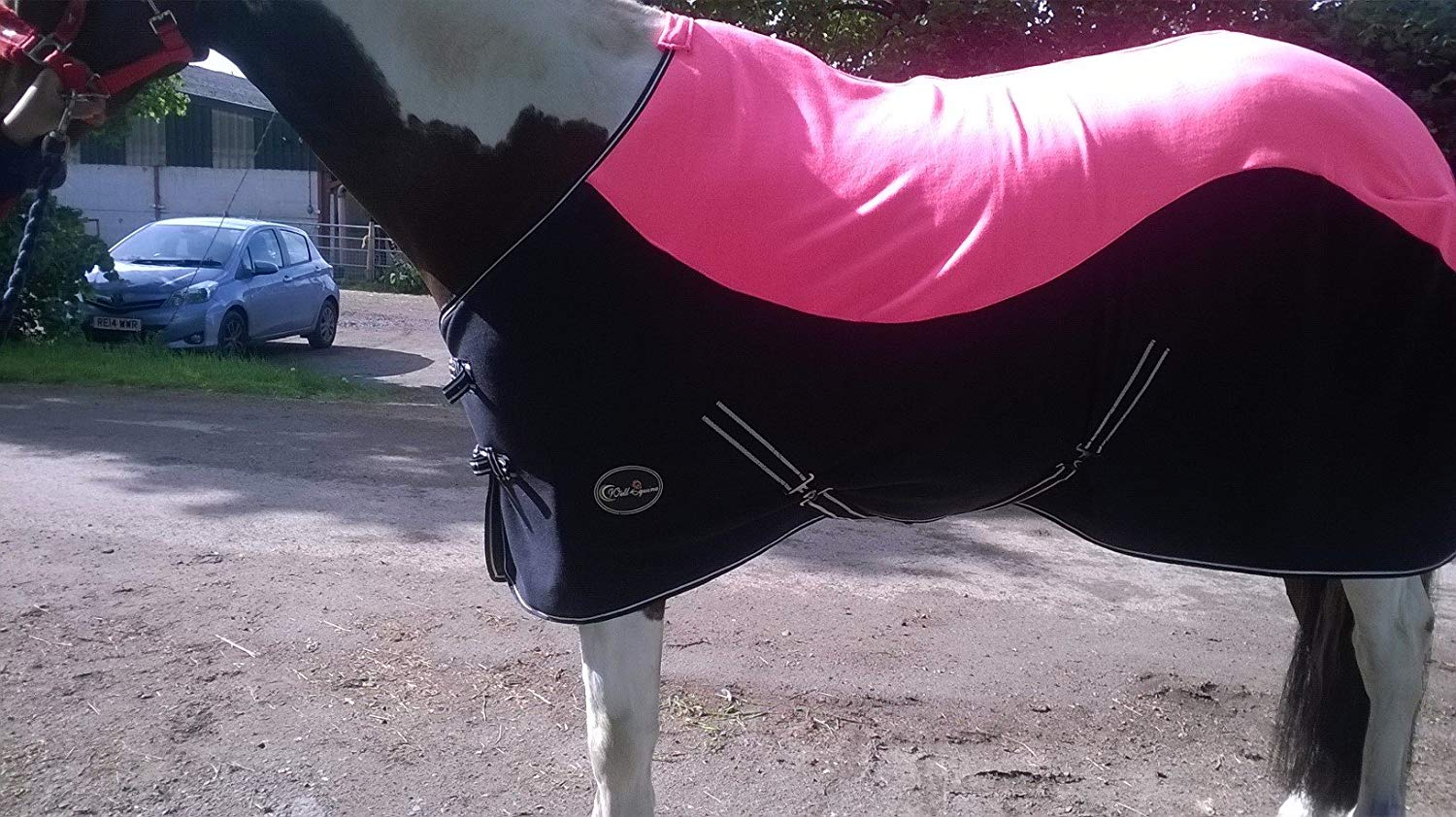 New Pink Black Two Tone Color Horse Cob Pony Show Travel Fleece Rugs